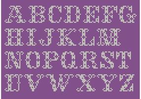 Cross Stitch Alfabet Vector Set