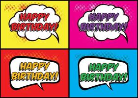 Comic Style Födelsedag Etiketter vektor
