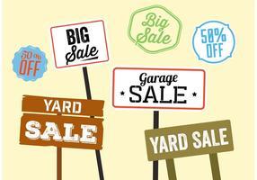 Yard Verkauf Zeichen Vektoren
