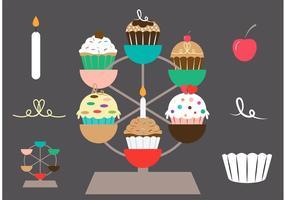 Cupcake Ställ Vector Set