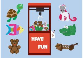 Arcade Claw Maschine Vektor mit Spielzeug