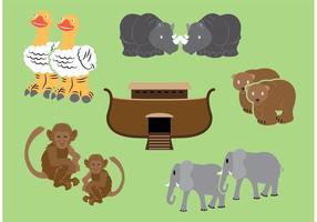 Arche Vektor mit den Tieren um zwei
