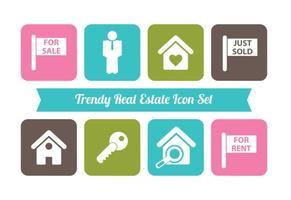 Trendy Immobilien Vektor Icon Set