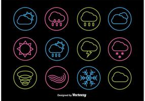 Neon väderlinje ikoner