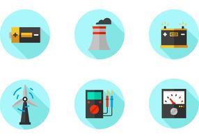 Elektrische Fabrik flache Vektor-Icons