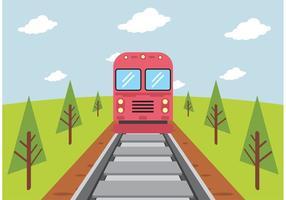 Zug auf Eisenbahn Vektor frei