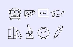 Schule Umriss Vektor Icons