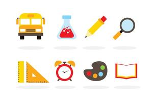 Flat School Vektor Icons