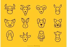 Vektor Tier Gesicht Zeichnung Icons