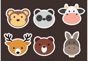 Söt djur ansikte vektor ikoner