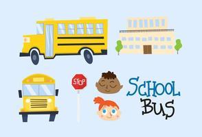 Tecknade skolbuss