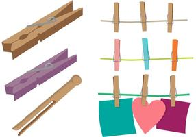 Clothespin vektor set