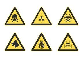 Fria vektor uppsättning trekantiga varningsfare tecken