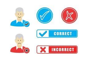 Korrekte falsche Flat Icons Vector Free