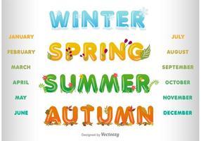 Vektor vinter, vår, sommar och hösten rubriker