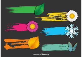 Saisonale Paintbrush Tag Vectors