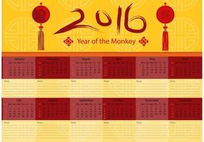 Kinesisk 2016 Kalendervektor