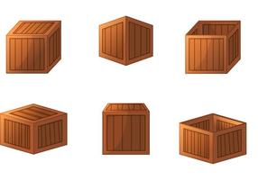 3D Trä Crate Vektorer