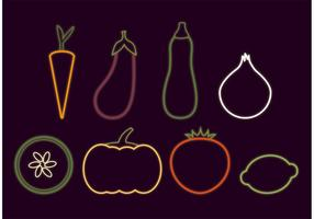 Neonglühende Veggie Vektoren