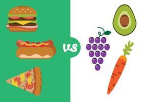 Hälsosam mat kontra dålig mat vektor