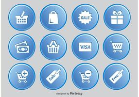 Einkaufstaste Icon Set vektor