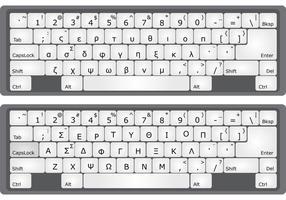 Grekiska alfabetet tangentbord vektorer