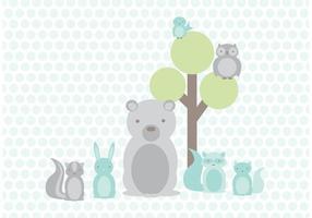 Baby woodland vänner vektor