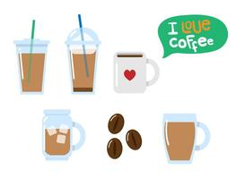 Flat Iced Kaffee Vektoren
