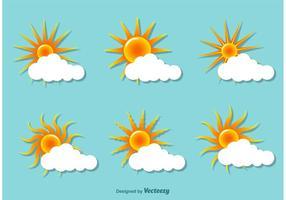 Solnedgång platta illustrationer vektor