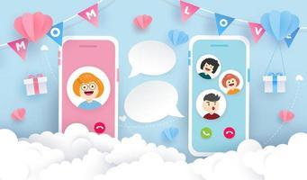 Kinder per Videoanruf mit Mutter zum Muttertag