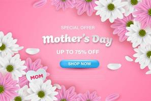rosa mors dag försäljning webb banner med blommor vektor