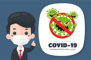 Geschäftsmann, der über Coronavirus aufklärt vektor