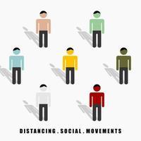 distansera sociala rörelser mellan färgglada män