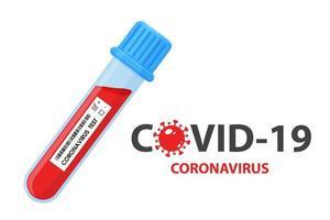 Plakat mit Reagenzglas mit Blutproben für Coronavirus
