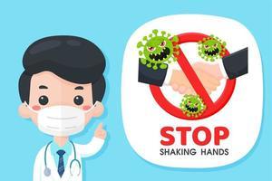 tecknad läkare rekommenderar att sluta skaka hand vektor