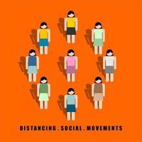 distansera sociala rörelser mellan färgglada kvinnor vektor
