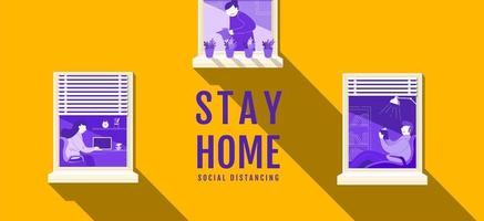 soziales distanzierendes Banner mit Menschen in Fenstern