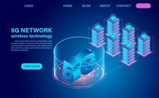 5g Netzwerktechnologie und Server vektor