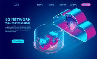 5g Netzwerktechnologie und Cloud vektor