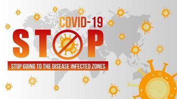 Stop Covid 19 Zeichen und Symbol mit Weltkarte