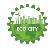 Öko-Stadt auf Globus in Zahnradform vektor