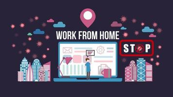 Verwenden eines Laptops zu Hause, um das Covid-19-Poster zu stoppen