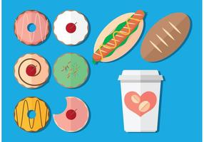 Kaffe- och donutvektorer vektor