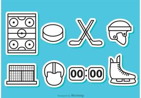 Hockey-Umrisse Icons vektor