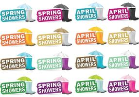 April Frühling Duschen Vektoren