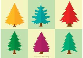 Cedar Träd Vector Set