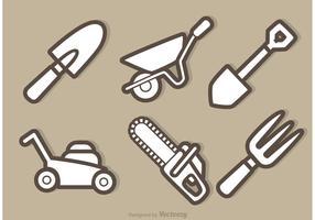 Vector Garten Ausrüstung Outline Icons