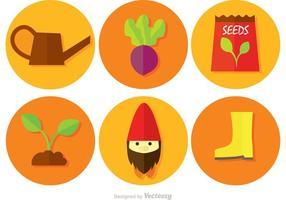 Gartenarbeit kreisförmigen Vektor-Icons