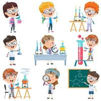 Cartoon-Studenten machen Chemie-Set