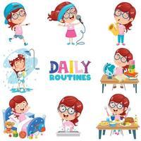 liten flicka som gör dagliga rutinaktiviteter vektor